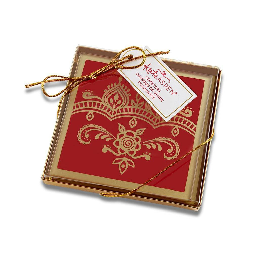 Image of 8ct Indian Jewel Glass Coasters Red - Kate Aspen