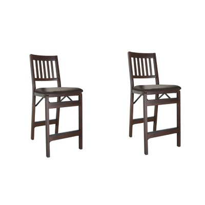 MECO Stakmore Premium Solid Wood Dining Table Folding Counter Stools Set with Fabric Padded Upholstered Seat, Espresso (2 Pack)