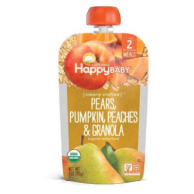 HappyBaby Pears, Pumpkin, Peaches & Granola Stage 2 Baby Food - 4oz
