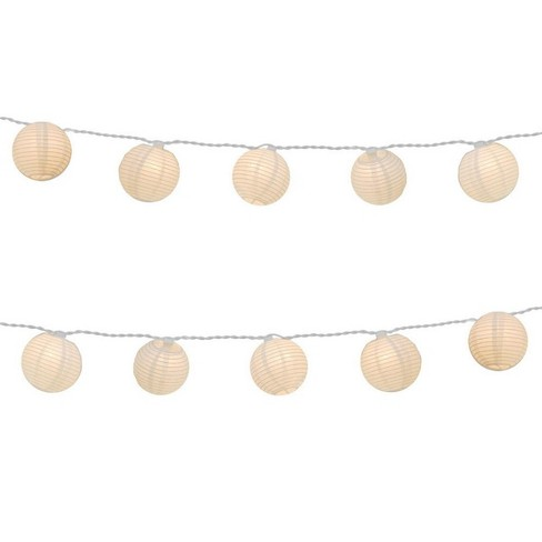 Northlight Set of 10 White Fabric Round Chinese Lantern Summer Garden Patio Christmas Lights - 7.5 ft White Wire - image 1 of 2