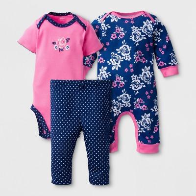 Gerber® Baby Girls' Roses 3pc Short Sleeve Coverall, Onesies® Bodysuit, Pants - Pink 3-6M