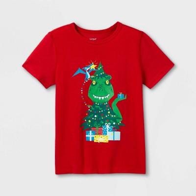 Boys' Adaptive Christmas Dinosaur Short Sleeve Graphic T-Shirt - Cat & Jack™ Red