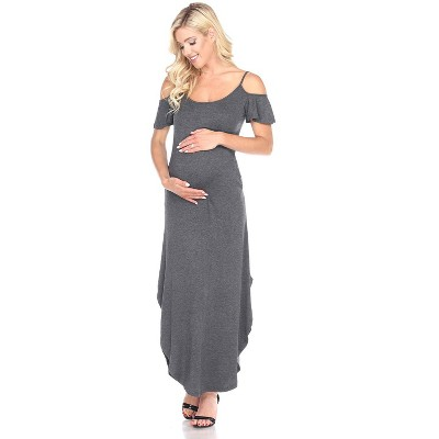 Maternity Cold Shoulder Maxi Dress with Pockets - White Mark