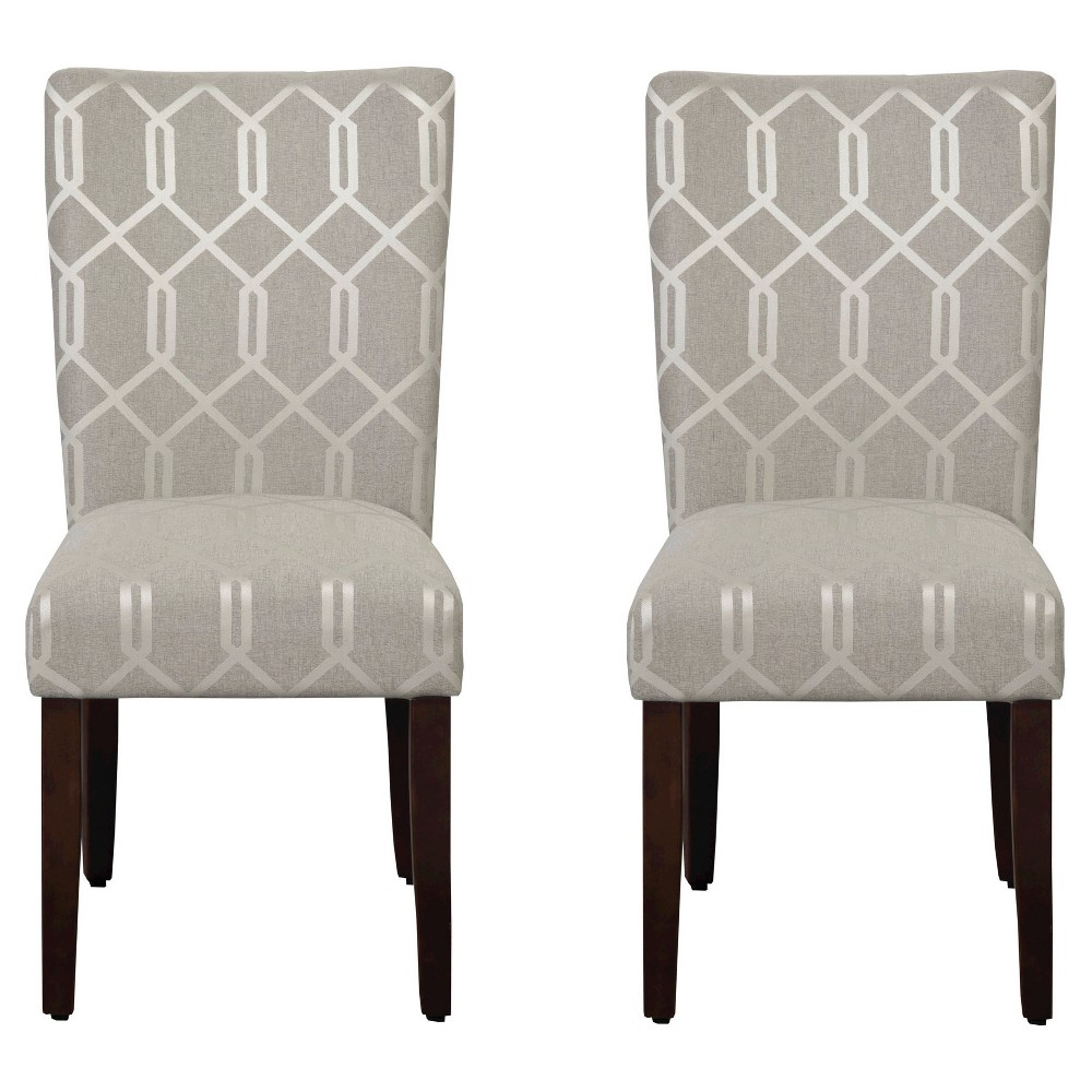 Parson Dining Chair Wood/Gray Lattice (Set of 2) - HomePop, Silver