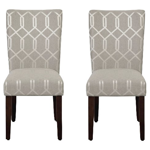Parson Dining Chair Wood Gray Lattice Set Of 2 Homepop