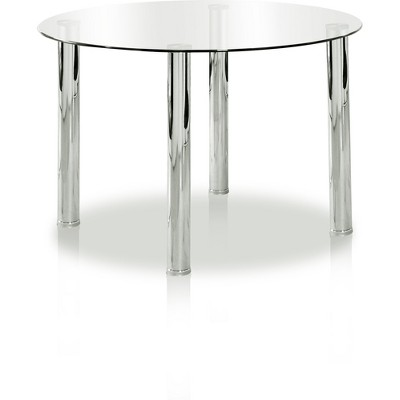 AnestonGlass Top Chrome Leg Round Dining Table Chrome - HOMES: Inside + Out