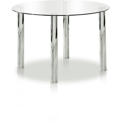 Anestongl Top Chrome Leg Round Dining Tablechrome Iohomes