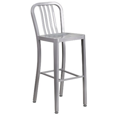 "Flash Furniture Commercial Grade 30"" High Metal Indoor-Outdoor Barstool with Vertical Slat Back"