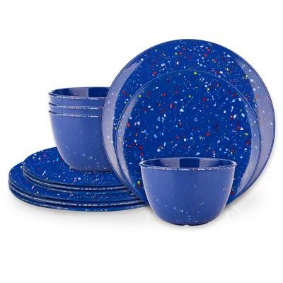 Zak Designs Confetti Melamine 12-Piece Dinnerware Set Dinner Plates Salad Plates Individual Bowls Durable Eco-Friendly Service for 4 BPA Free