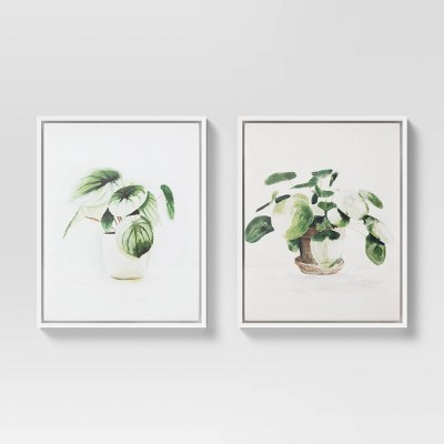 "(Set of 2)16"" x 20"" Pilea Peperomoides & Peperomia Melon Framed Canvas - Threshold™"