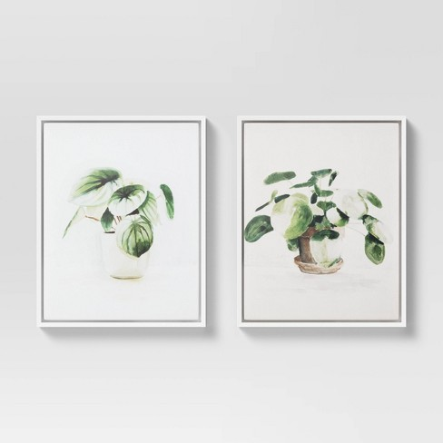 """(Set of 2) 16"""" x 20"""" Pilea Peperomoides & Peperomia Melon Framed Canvas - Threshold™ - image 1 of 4"""