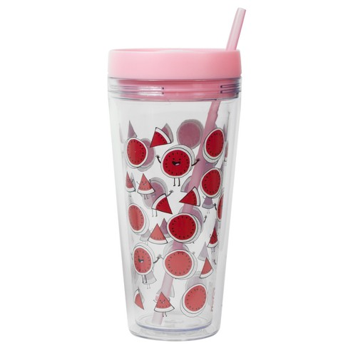76ba39b1214 Cool Gear Plastic Tumbler With Lid And Straw 24oz Watermelons - Pink