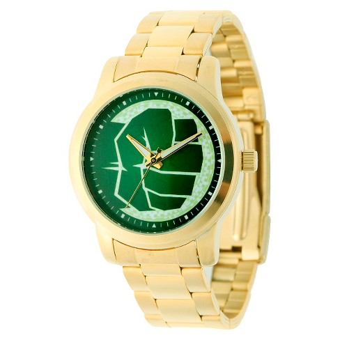 Men's Marvel Hulk Casual Alloy Watch - Gold - image 1 of 2
