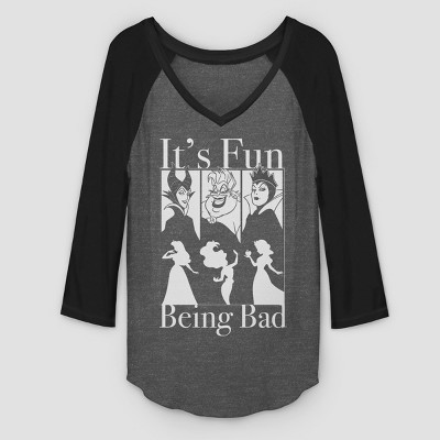Women's 3/4 Sleeve Disney Fun Being Bad Raglan Graphic T-Shirt - Gray/Black