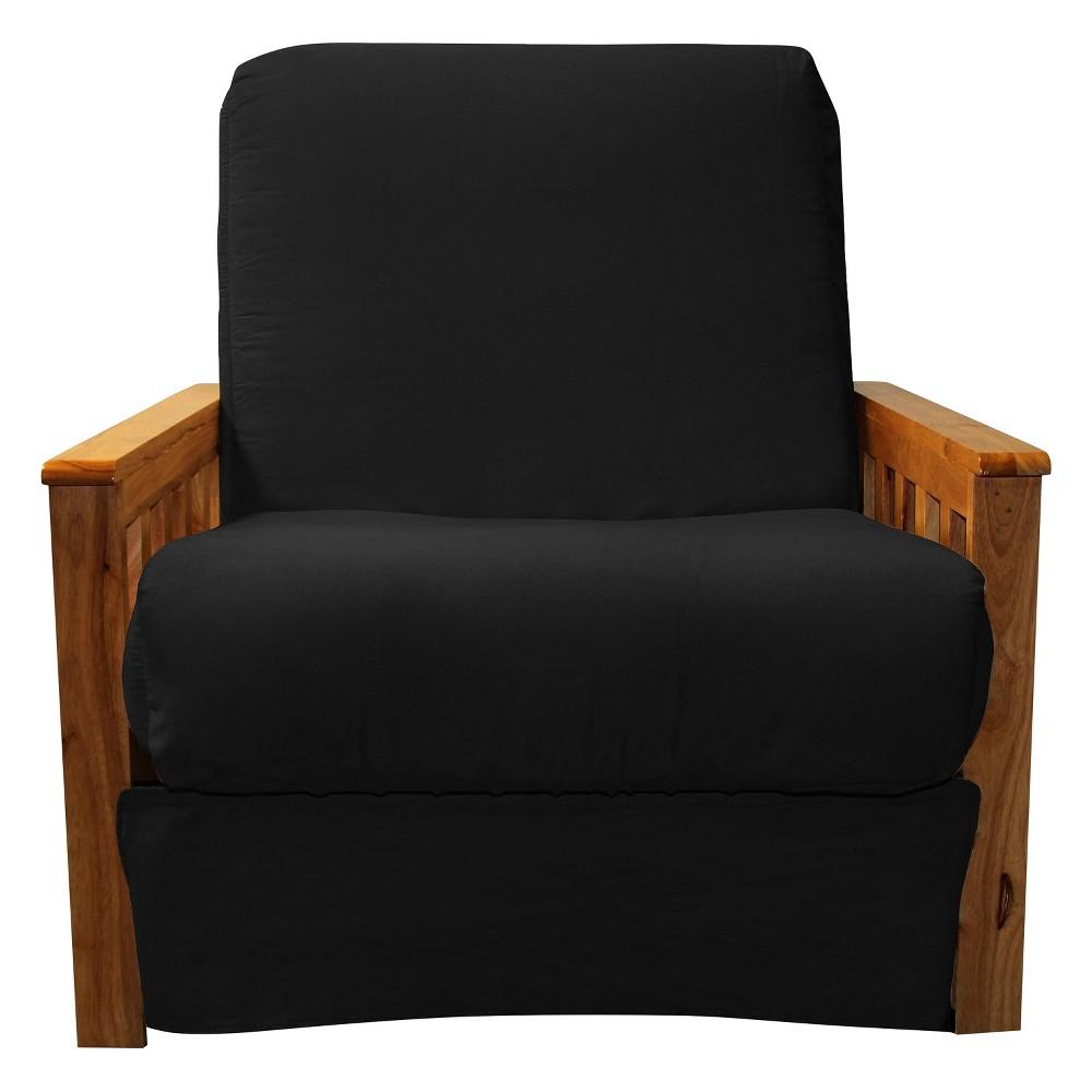 Mission Perfect Convertible Futon Sofa Sleeper - Oak Wood Finish - Epic Furnishings, Matte Black
