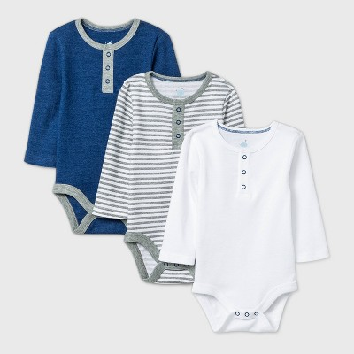 Baby Boys' 3pk Long Sleeve Placket Bodysuit - Cloud Island™ Navy/White/Gray