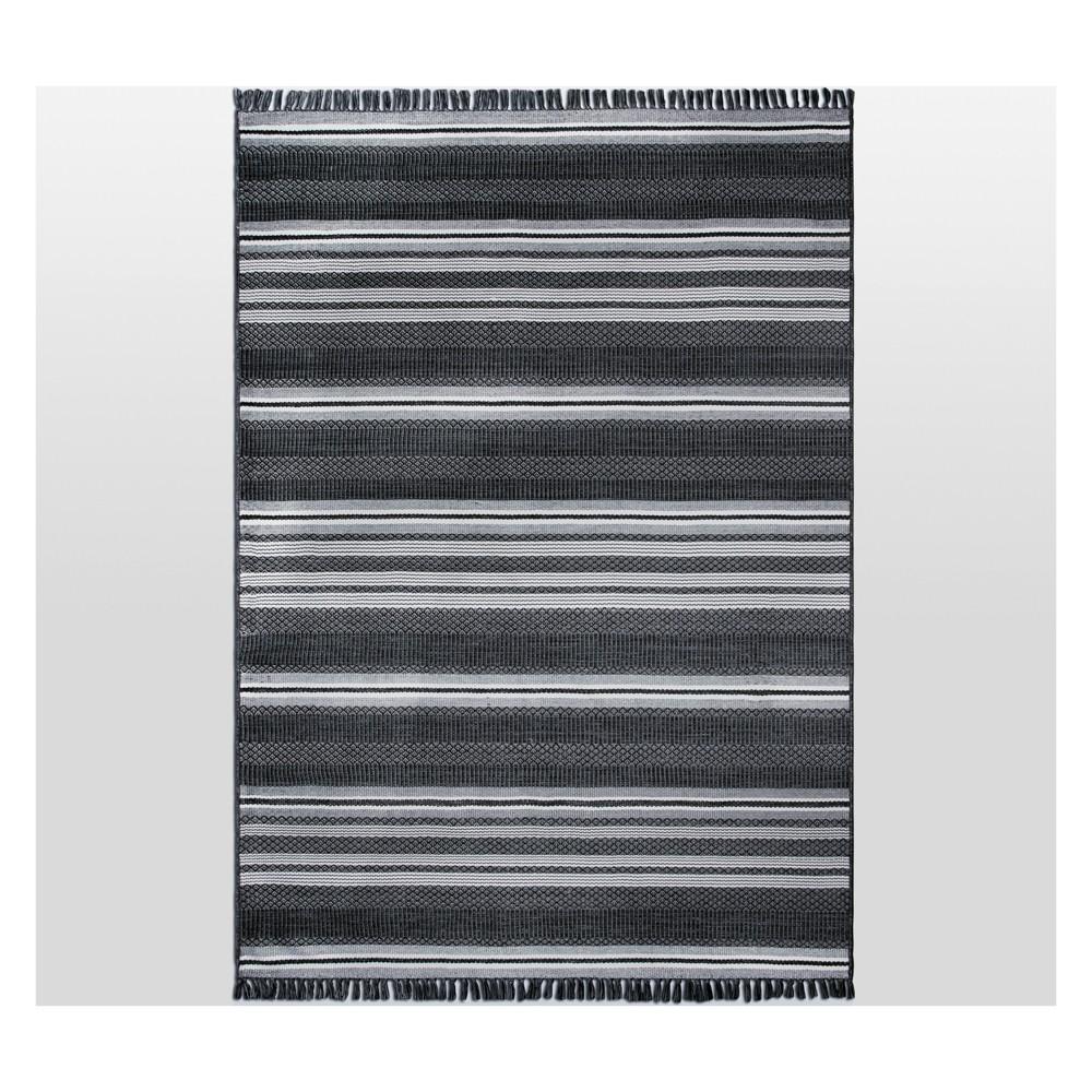 7' x 10' Global Stripe Outdoor Rug Black - Threshold