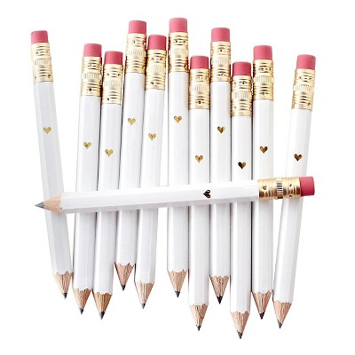 12ct Mini Foil Heart Party Pencils White/Gold