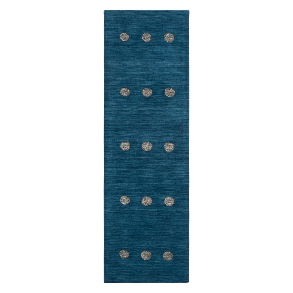 2 2 X8 Polka Dots Loomed Runner Blue Safavieh