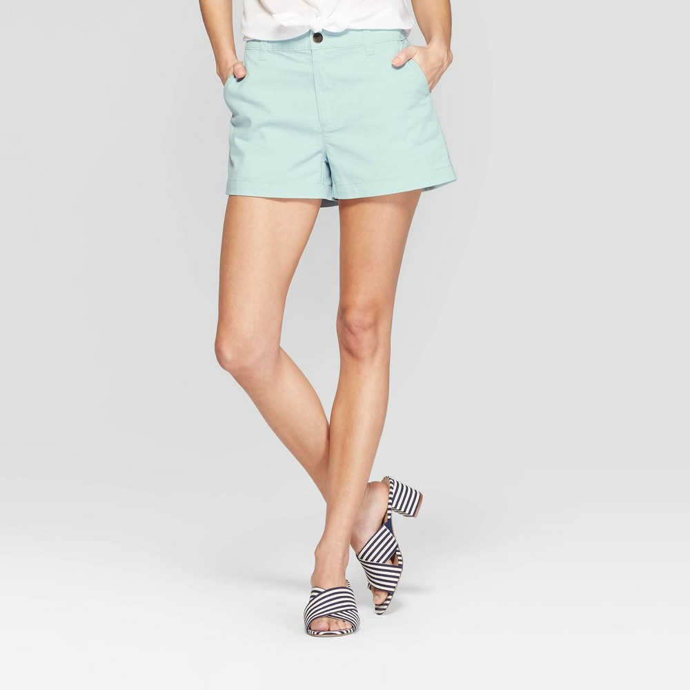 Women's High-Rise Chino Shorts - A New Day Turquoise 2
