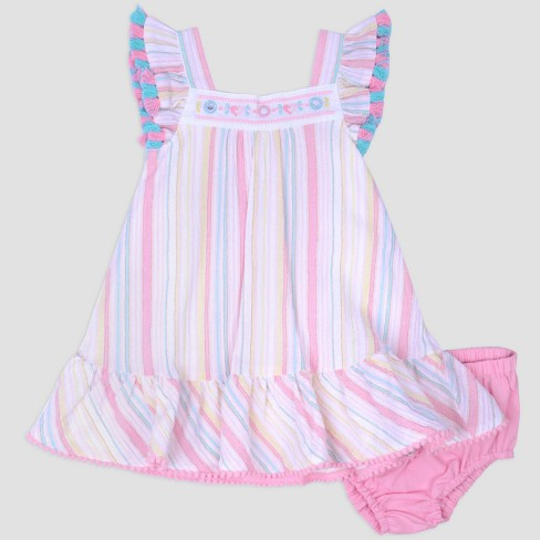 132582e97 Baby Girls  Stripe Gauze Dress   Poplin Panty Set Nate   Annee™ Pink ...