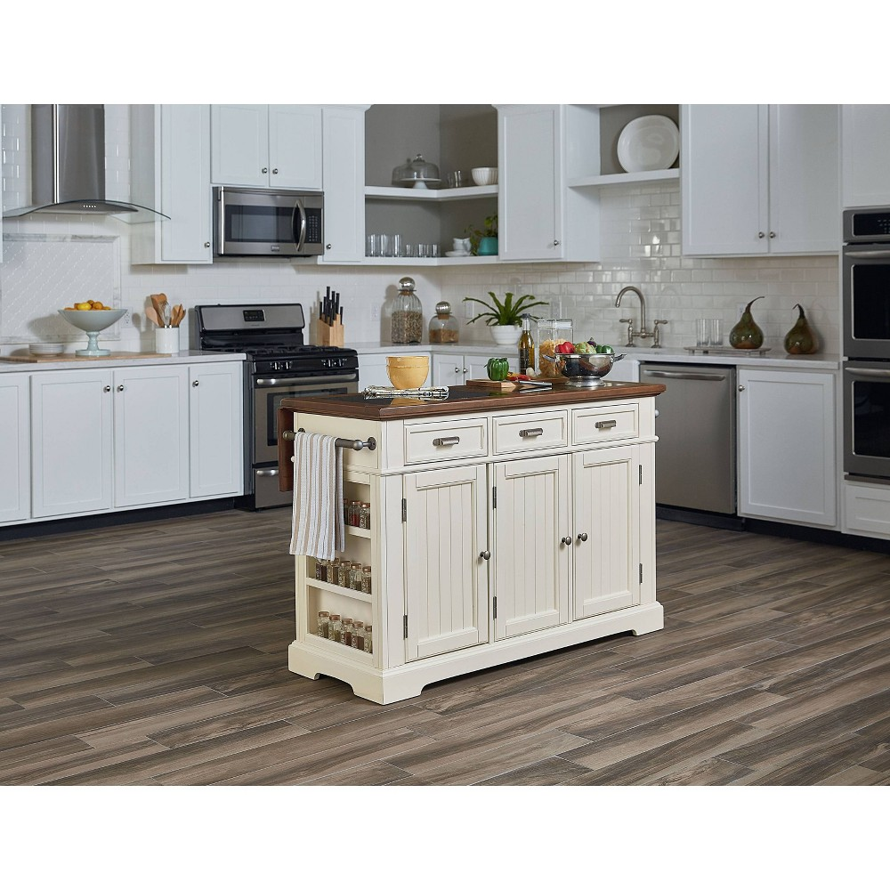 Country Large Kitchen Island With Finished Top White - Osp Home Furnishings