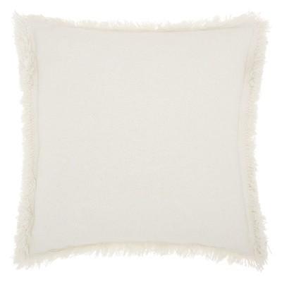 Life Styles Stonewash Fringe Oversize Square Throw Pillow White - Mina Victory
