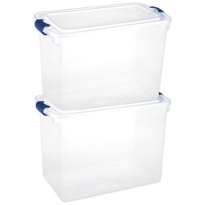 Homz Heavy Duty Modular Clear Plastic Stackable Storage Tote Containers with Latching and Locking Lids, 112 Quart Capacity, 2 Pack