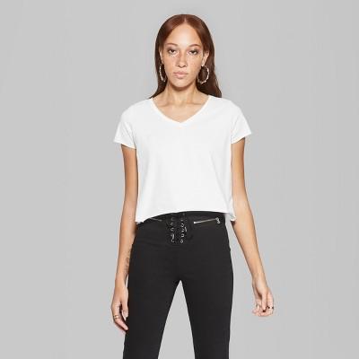 4800cc874a0 Women s Short Sleeve V-Neck Boxy T-Shirt - Wild Fable™ White