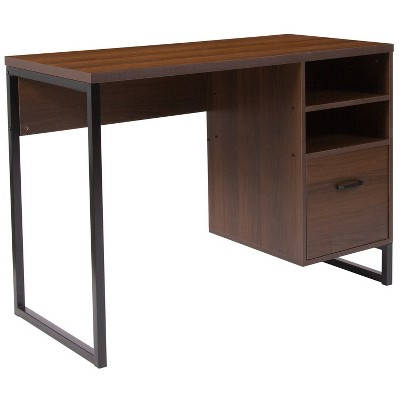 Flash Furniture Northbrook Rustic Coffee Wood Grain Finish Computer Desk with Black Metal Frame