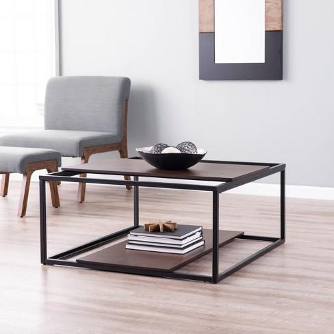 Decklan Sliding Shelf Coffee Table Dark Tobacco/Black - Holly & Martin - image 1 of 4