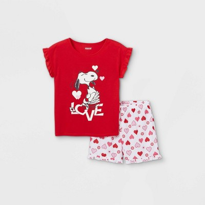 Girls' Peanuts Snoopy Love 2pc Pajama Set - Red