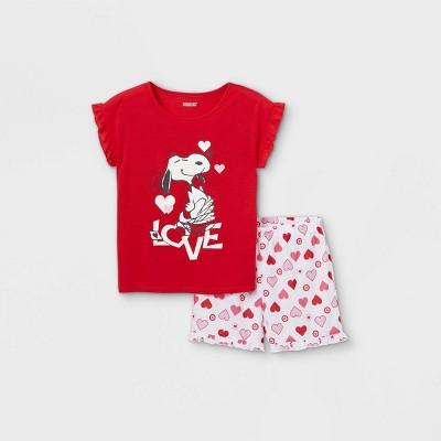 Girls' Peanuts Snoopy Love 2pc Pajama Set - Red