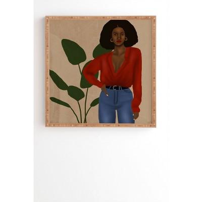 "30"" x 30"" Nawaalillustrations Girl in Red Framed Wall Art Bamboo - Deny Designs"