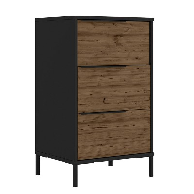 Wood and Metal Office Accent Storage Cabinet with 3 Drawers Brown/Black - The Urban Port