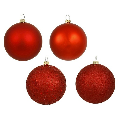 24ct Red Assorted Finishes Ball Christmas Ornament Set - image 1 of 1