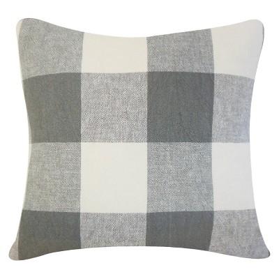 """Coal Big Buffalo Check Throw Pillow (18""""x18"""") - The Pillow Collection"""