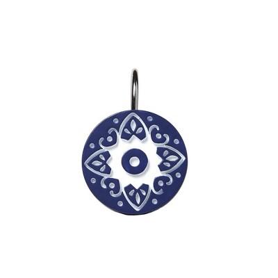 "Saturday Knight Ltd ""Kali"" White Medallion Bath Shower Curtain Hooks Set of 12 - Blue"