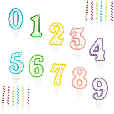Blue Panda 154-Piece Numbers 0-9 and Rainbow Stripes Birthday Cake Topper Candles with Holders for Party Decor