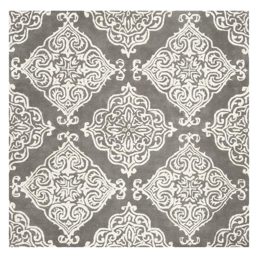 6'X6' Medallion Tufted Square Area Rug Dark Gray/Ivory - Safavieh