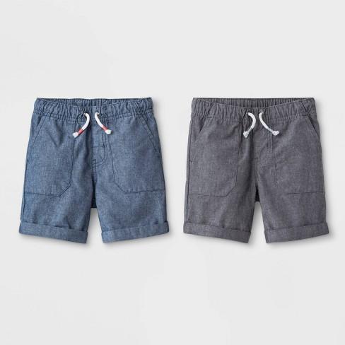 Toddler Boys' 2pk Novelty Texture Pull-On Shorts - Cat & Jack™ Gray/Blue - image 1 of 2
