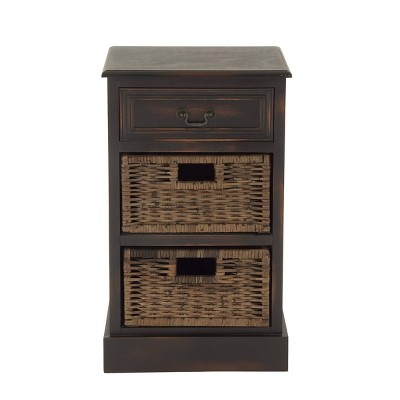 Farmhouse Wooden Side Chest with Basket Drawers Maroon - Olivia & May