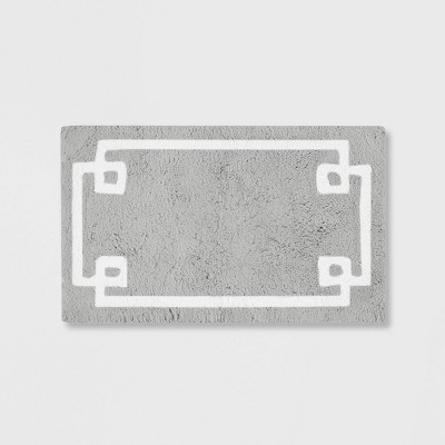 "20""x30"" Geometric Cotton Tufted Bath Rug Gray"