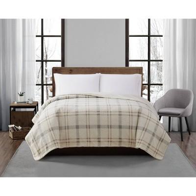 King Plaid Print Plush Bed Blanket Neutral - London Fog
