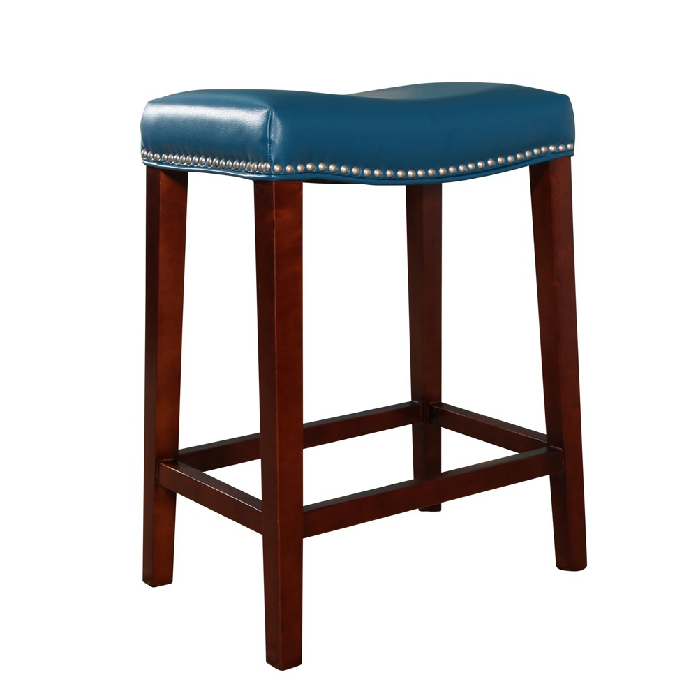 Image of 26 Geneva Bonded Leather Counter Stool Turquoise - Abbyson Living
