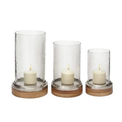 Set of 3 Mango Wood and Aluminum Candle Holders - Olivia & May