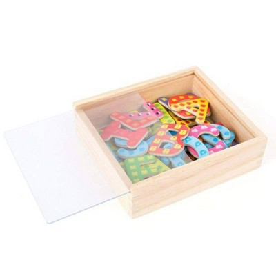 Small Foot Wooden Toys Colorful Wooden Magnetic Letters In Travel Box