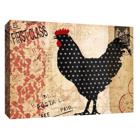 "Lucky Rooster II Decorative Canvas Wall Art 11""x14"" - PTM Images - image 1 of 1"