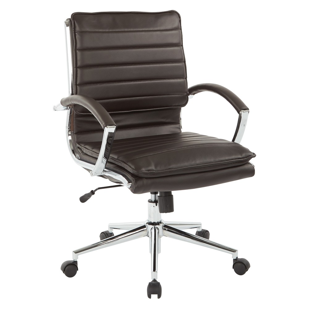 Mid Back Manager's Faux Leather Chair With Chrome Base Espresso Brown - Osp Home Furnishings