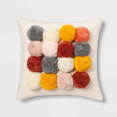 Square Throw Pillow with Poms Cream - Opalhouse™